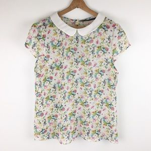 ZARA | Peter Pan floral cap sleeve blouse 0320